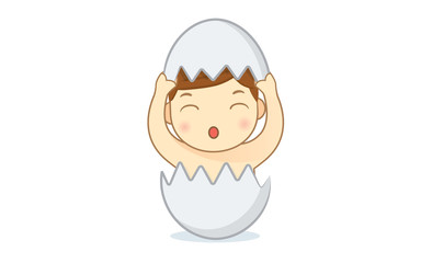 Happy Baby born from the egg