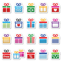 Present, gift box colorful vector icons set