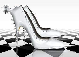 Weiße Super High Heels mit Sporn