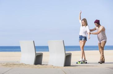 Balancing on a skateboard