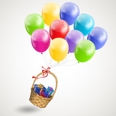 basket gifts flying on air colored balls