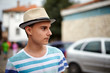 Teenage boy with hat outdoor