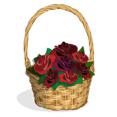 wicker basket roses1