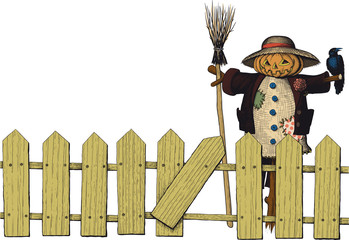 fence and a scarecrow