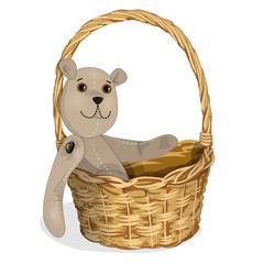 toy Teddy-bear in a wicker basket2