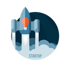 Space rocket flying in sky, startup
