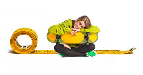 Blonde girl with skate around tape measure