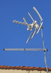 Antenna TV  for reception of TV channels and the blue sky