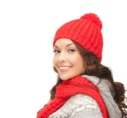 beautiful asian woman in hat and mittens