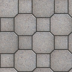Gray Square and Octagon Paving Slabs.