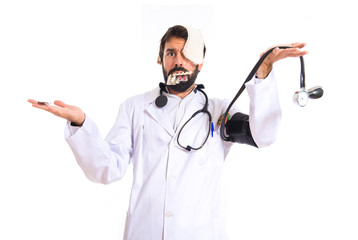 Crazy doctor over white background