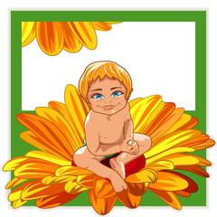 Baby in a flower.