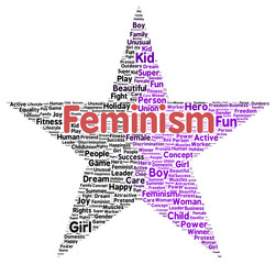 Feminism word cloud shape