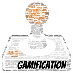 Gamification word cloud shape