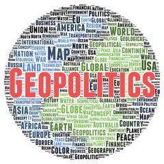 Geopolitics word cloud shape