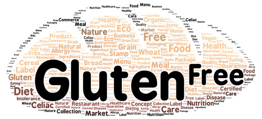 Gluten free word cloud shape
