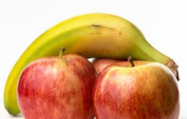 a banana and three apples