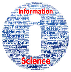 Information science word cloud shape