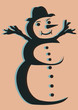 Silhouette d'un bohomme de neige pop art