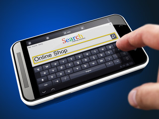 Online Shop - Search String on Smartphone.