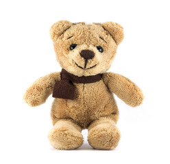TEDDY BEAR brown color with scarf on white background