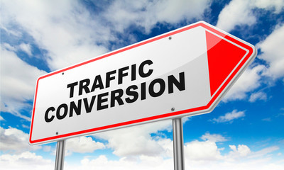 Traffic Conversion on Red Road Sign.