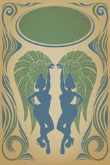 vintage affiche with attractive samba queen