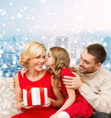 happy family with gift box