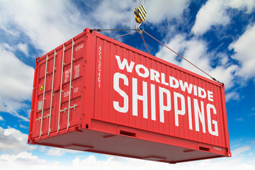 World Wide Shipping - Red Hanging Cargo Container.
