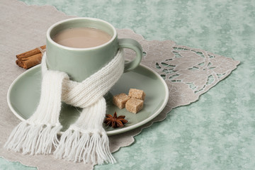 Autumn Concept. Cup Of Hot Coffee, Cocoa or Tea With Milk And Sp