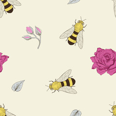 bee and rose seamless pattern