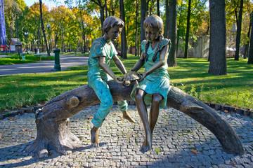 Bronze sculpture in the park