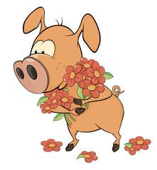 Pig and flowers. Cartoon