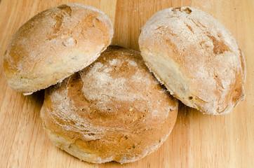 handmade bread, homemade, close-up on wood
