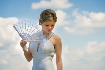 Beautiful bride with fan