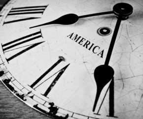 American black and white clock face