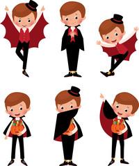 Illustration set poses cartoon vampire