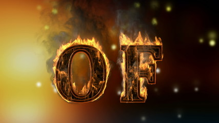 of . burning word on glowing background