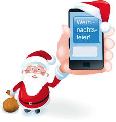 Weihnachtsmann hält Smartphone mit SMS Weihnachtsfeier