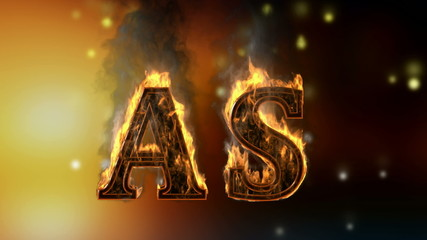 as . burning word on glowing background
