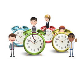 Business people with vintage clocks over white background