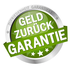 Button with banner Geld zurück Garantie