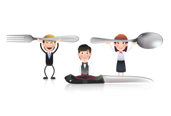 Business people with knife, fork and spoon. Vector design.