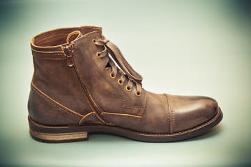 Autumn and spring leather shoes. Fashionable men's shoes