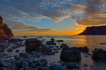The Talisker Bay on the Isle of Skye after sunset