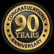 Zdjęcia na płótnie, fototapety, obrazy : 90 years anniversary congratulations gold label with ribbon, vec