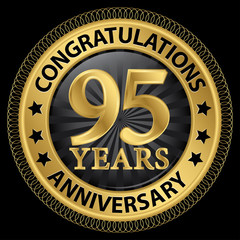 95 years anniversary congratulations gold label with ribbon, vec