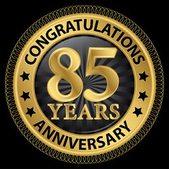 85 years anniversary congratulations gold label with ribbon, vec