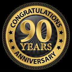 90 years anniversary congratulations gold label with ribbon, vec