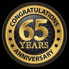 65 years anniversary congratulations gold label with ribbon, vec